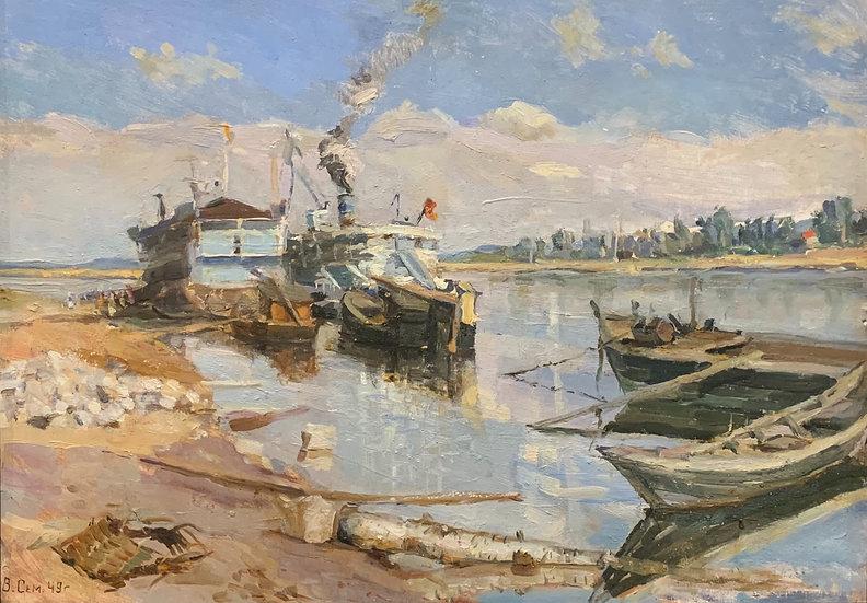 """""""The Volga with Barges"""" (1949) by Valery Semenovich Semenov (1928-2001)"""