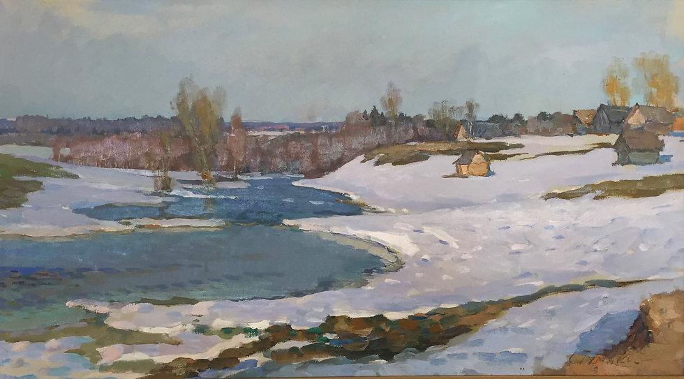 """""""The Beginning of April"""" (1973) by Sergey Pavlovich Tumakov (1919-2003)"""