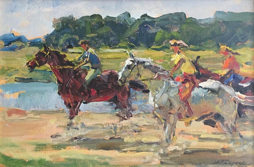 """The Young Horsemen"" (1978) by Andrey Ivanovich Plotnov (1918-1981)"