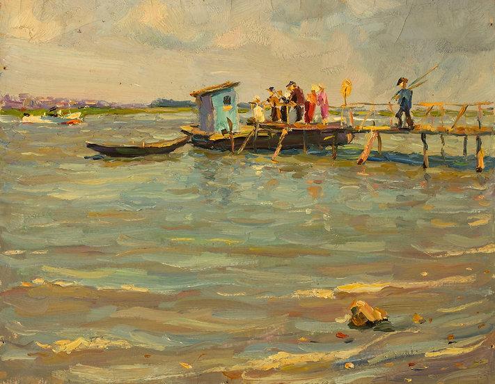 """The Fishermen"" (1960s) by Vladimir Petrovich Chernousenko (1932-2000)"