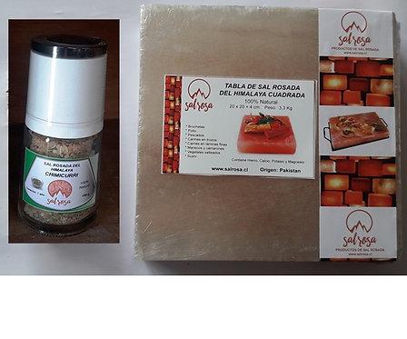 Pack Tabla cuadrada de sal 20x20x4cm + Molinillo Premium de 150 g.
