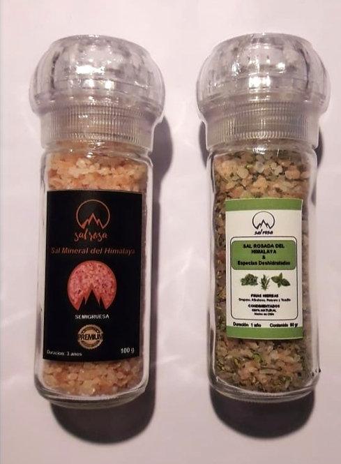 Pack de 2 Molinillo P con sal mineral del Himalaya y especias Chilenas 80 g.