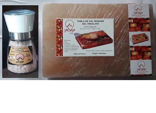 Pack Tabla sal rosada  30x20x4cm + Molinillo M sal y especias 180 g.