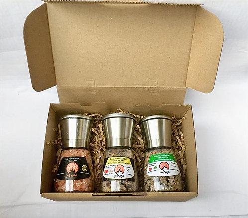 Para regalo: Pack 3 Molinos M tapa inox