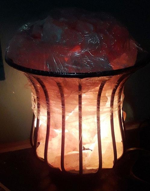Lámpara canasta de la abundancia L (Metálica). Sal Rosada del Himalaya