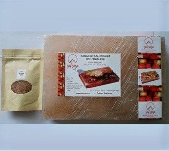 Pack Tabla de sal rosada  30x20x4cm + Doy pack Merkén ahumado 50 g