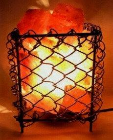 Lámpara canasta CUADRADA de la abundancia (Metálica). Sal Rosada del Himalaya