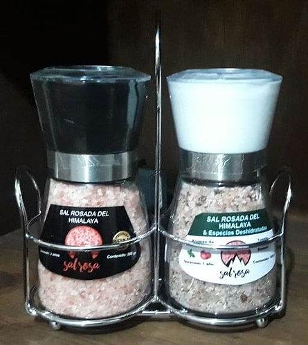 Pack de Portamolino mas 2 molinillos M estándar de 180 g. con sal y/o especias
