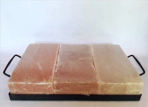 Pack Bandeja de metal con 3 tablas individuales de sal rosada 20x10x5cm