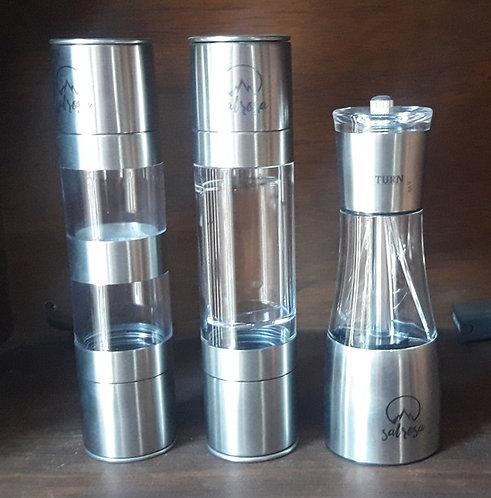 3 Molinillos dual vacios (vertical y/o espiral) para sal y pimienta
