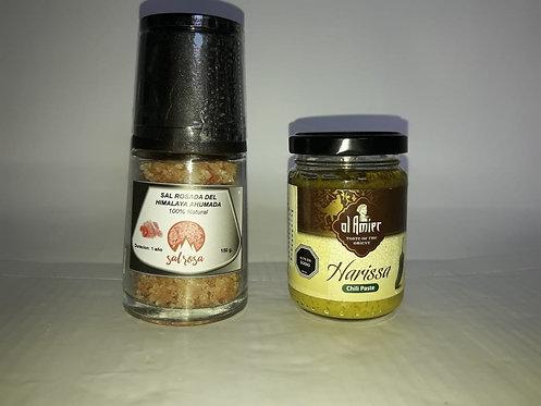PACK UNA PASTA + MOLINO  150 g. con sal, sal ahumada, o con chimichurri