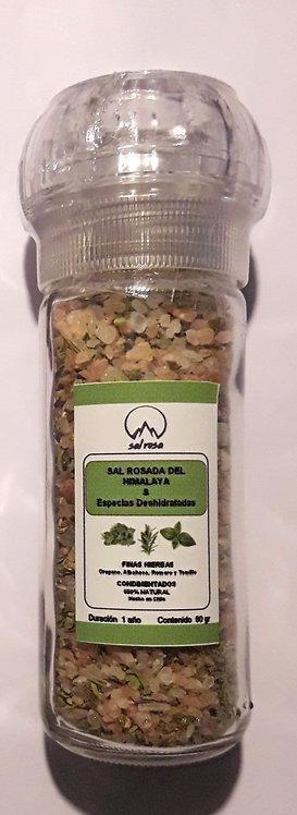 Molinillo P con sal mineral del Himalaya y especias Chilenas 80 g.
