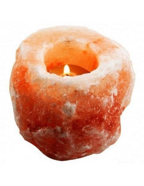 Portavela rústica de sal rosada con su vela