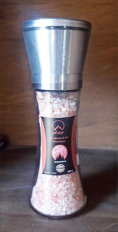 Molinillo L tapa acero inoxidable con sal rosada del Himalaya 200 g.
