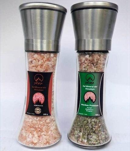 2 Molinillo L tapa acero inoxidable con sal rosada del Himalaya 200 g.