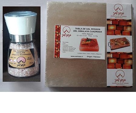 Pack Tabla cuadrada sal 20x20x4cm +Molinillo M sal y especias 180g. a solo $1000