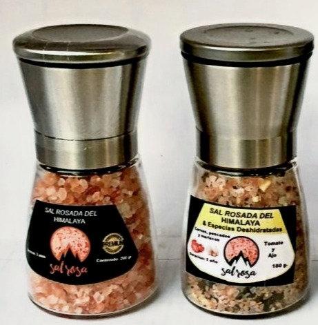 2 Molinillos M tapa Acero Inox con sal rosada Himalaya y/o especias chilenas