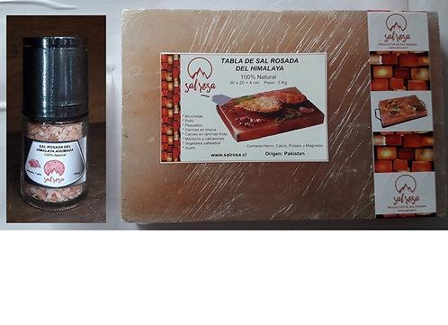 Pack Tabla de sal rosada  30x20x4cm + Molinillo Premium de 150 g