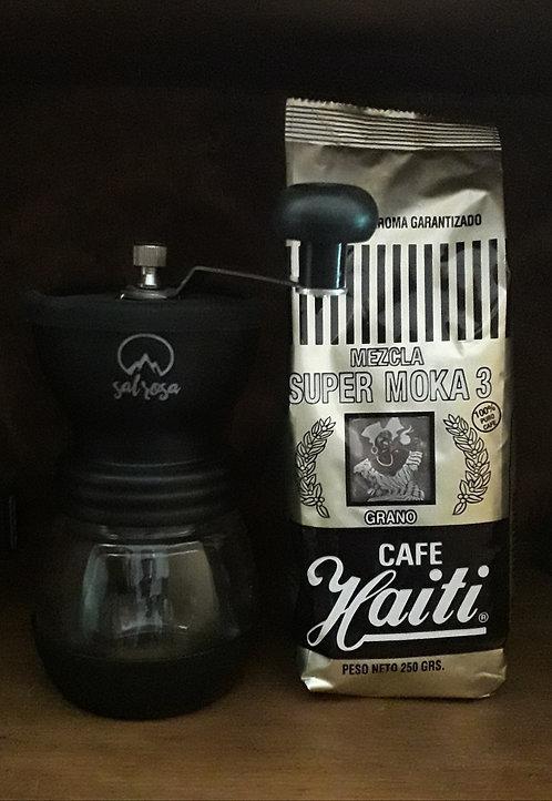Molinillo con 2 envases de vidrio  para café en grano.