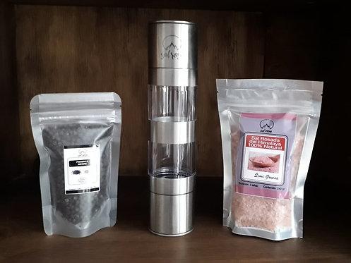 Molinillo dual horizontal vacío. Incluye doy pack con sal y pimienta.