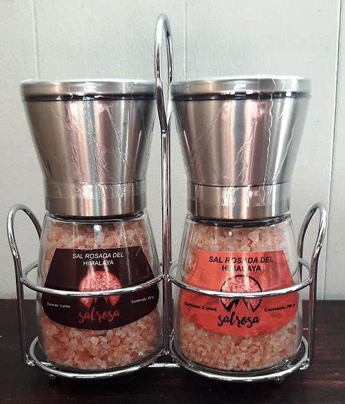 Pack de portamolino con 2 molinillos M tapa acero inoxidable 180 g con sal y esp