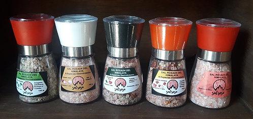 5 Molinillos M estándar con sal del Himalaya y Especias Chilenas