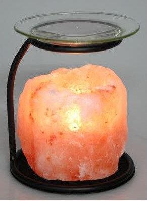 Portavela rústica de sal rosada con base metálica para aroma terapia