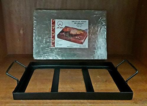 """Pack Bandeja de metal con tabla de sal rosada 30x20x4cm (12x8x1.5"""")"""