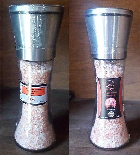 Pack 2 Molinillo L tapa acero inoxidable con sal rosada del Himalaya 200 g.