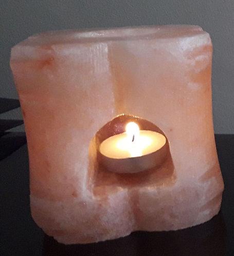 Portavela tallada con envase de ceramica y aceite de regalo para aroma terapia