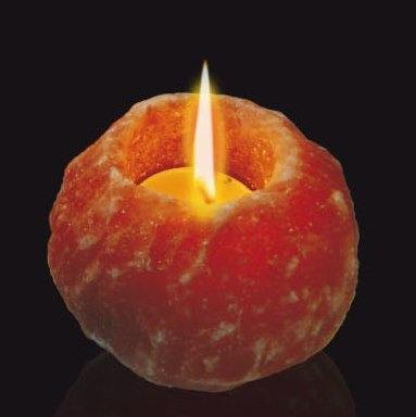 Portavela bola Rústica de sal rosada con su vela