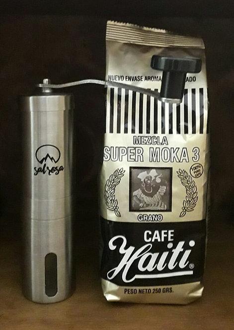 Molinillo de acero inoxidable para café en grano.