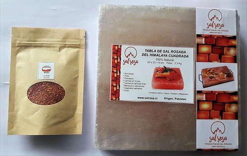 Pack Tabla cuadrada de sal rosada  20x20x4cm + Doy pack Merkén ahumado 50 g