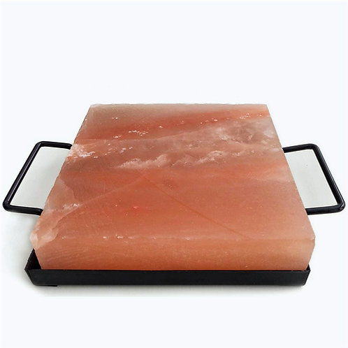 Pack Bandeja de metal con tabla cuadrada de sal rosada 20x20x4cm