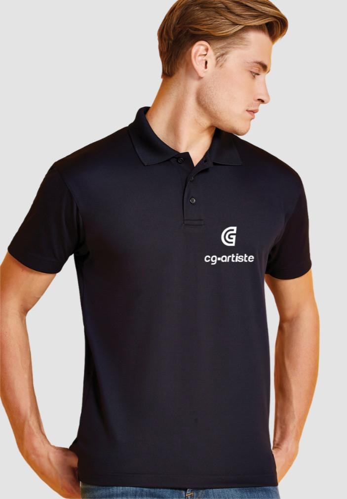 Branded polo-shirt.