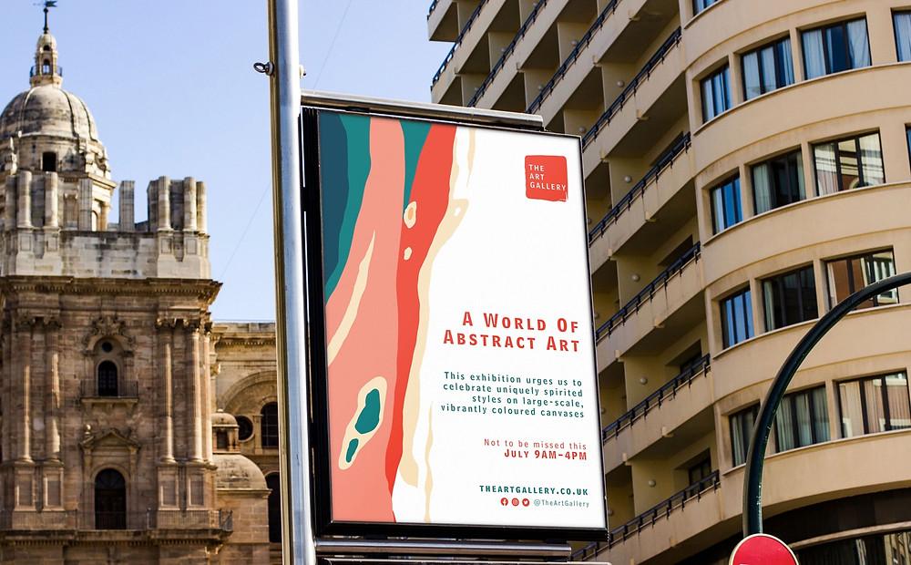 Supersize poster advertising an art gallery.