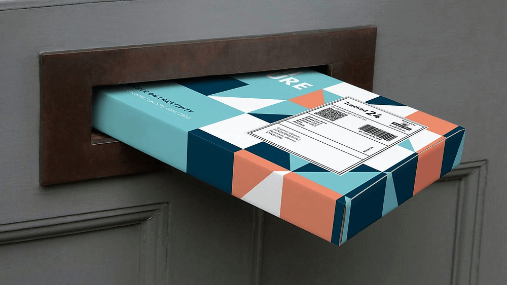 Promotional merchandise being mailed through the recipients door as part of a promotional merchandise campaign.