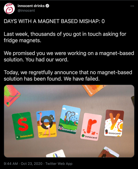 A tweet from Innocent smoothies about their promotional fridge magnet campaign.