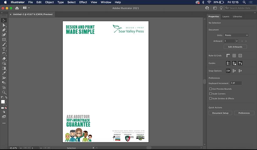 A letterhead design on Adobe Illustrator.
