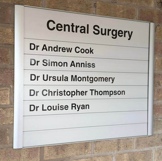 Directory Sign for Central Surgery