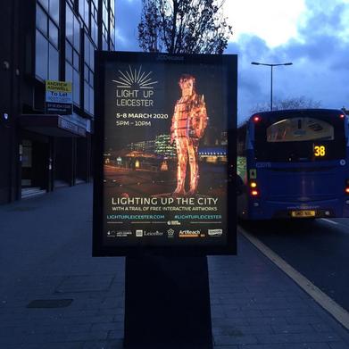 Signage designed for Light Up Leicester.