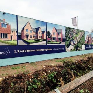 Dibond Hoarding Boards for Fraser Stretton's Fleckney Meadows Site.