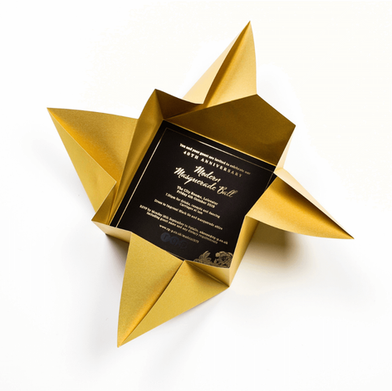 Gold Origami Invitations for rg+p.