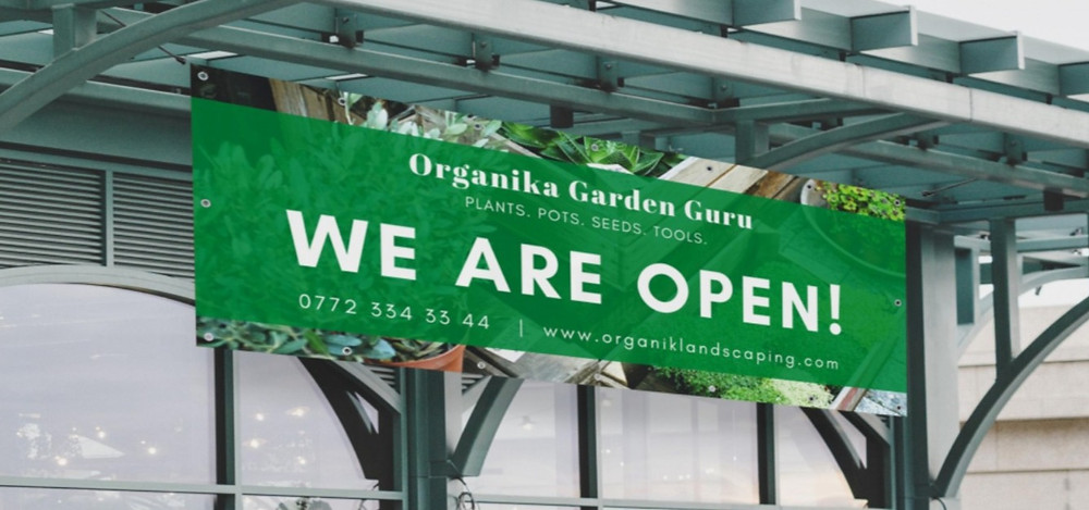 'We Are Open' PVC Banner