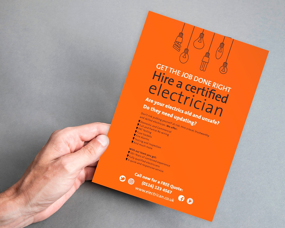 A leaflet advertising an Electrician's services.