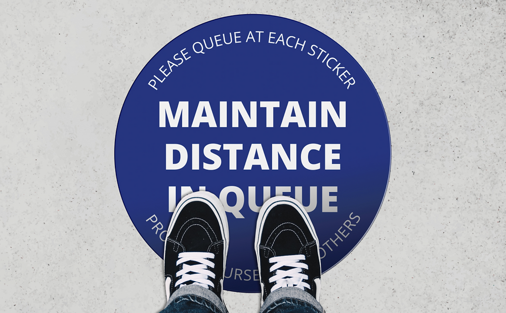 Social Distancing 'Please Queue Here' Floor Vinyl Sticker