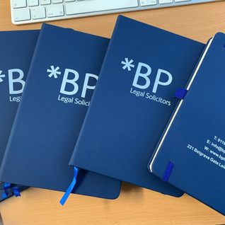 Branded Notebooks produced for BP Legal Solicitors.
