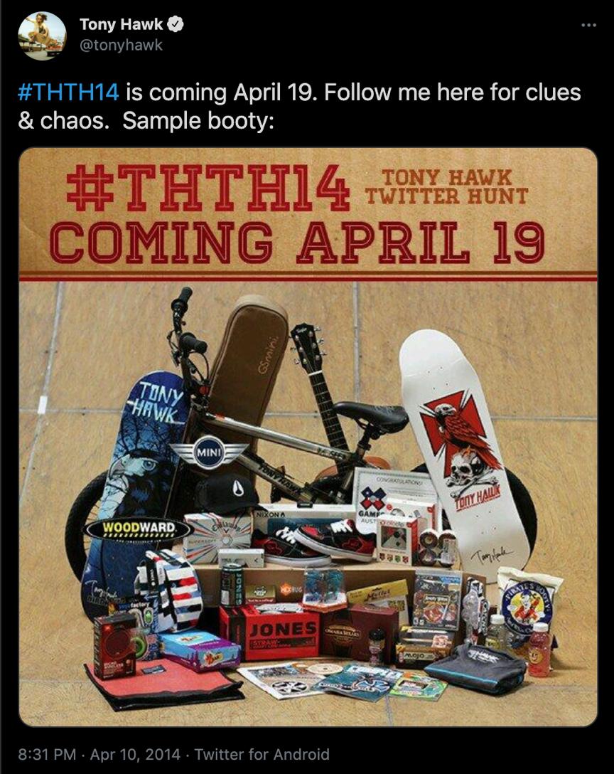 Tony Hawk's Scavenger Hunt Promotional Merchandise Campaign