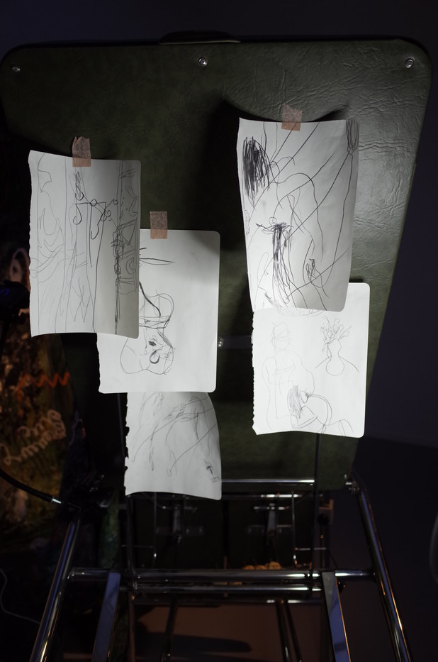 Pencil drawings on paper, bandage tape