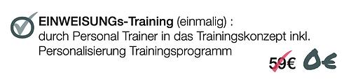 Preis persönliches Einweisungs-Training